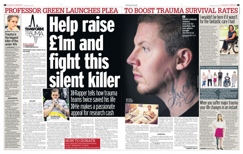 Transform Trauma - Sunday Mirror - 16 July 2017