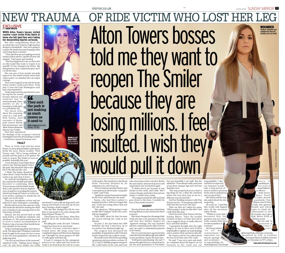 New Trauma - Alton Towers Article - Sunday Mirror